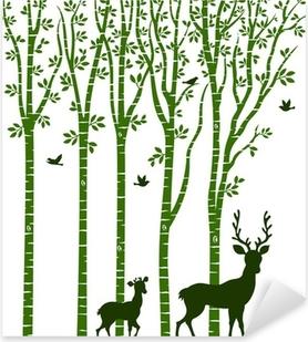 Sticker Pixerstick Bouleau avec des cerfs