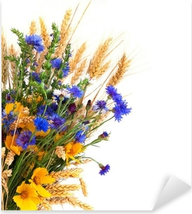 Bouquet from ears and field flowers isolated on white background Pixerstick Sticker