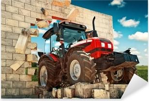 Brand new Tractor breaking through the wall Pixerstick Sticker