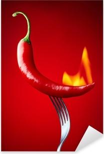 Pixerstick Sticker Brandende rode chili peper op rode achtergrond