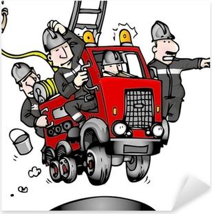 Pixerstick Sticker Brandweerman vrachtwagen