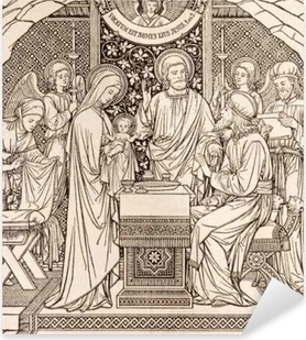 BRATISLAVA, SLOVAKIA, NOVEMBER - 21, 2016: The lithography of Presentation in the Temple by unknown artist with the initials F.M.S (1894) and printed by Typis Friderici Pustet. Pixerstick Sticker