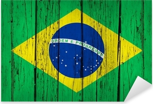 Brazil Flag Wood Background Pixerstick Sticker