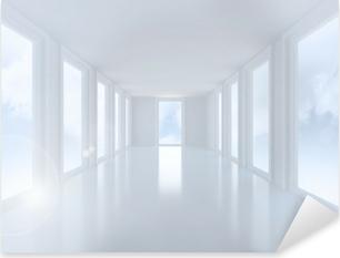 Bright white hall with windows Pixerstick Sticker