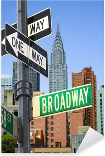 Broadway sign in front of New York City skyline Pixerstick Sticker