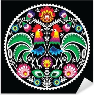 Sticker Pixerstick Broderie florale polonais avec des coqs - folklorique