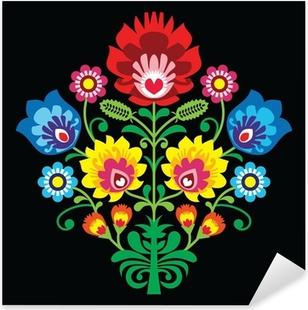 Sticker Pixerstick Broderie folklorique polonaise avec des fleurs - modèle traditionnel