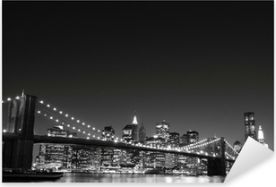 Brooklyn Bridge and Manhattan Skyline At Night, New York City Pixerstick Sticker