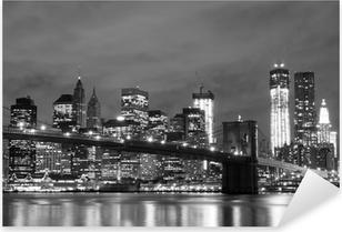 Brooklyn Bridge and Manhattan Skyline At Night, New York City Pixerstick Sticker