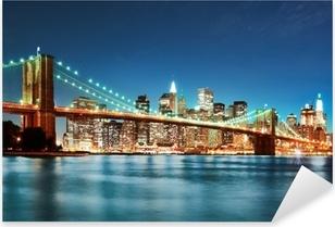 Brooklyn bridge at night Pixerstick Sticker