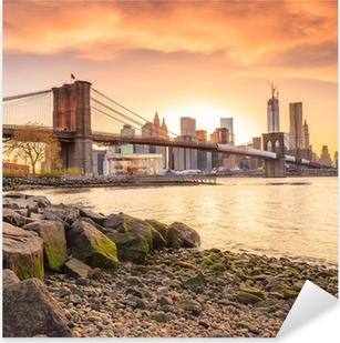 Pixerstick Sticker Brooklyn Bridge bij zonsondergang