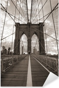Brooklyn Bridge in New York City. Sepia tone. Pixerstick Sticker