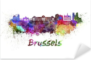 Pixerstick Sticker Brusselse skyline in aquarel