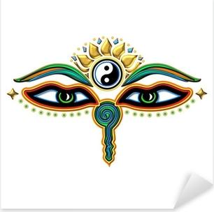 Buddha Augen Yin Yang Pixerstick Sticker