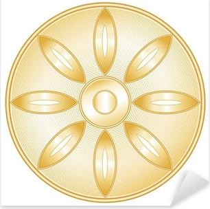 Buddhism Symbol, golden Lotus blossom, icon of Buddhist faith Pixerstick Sticker