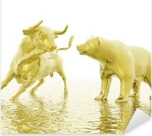 bull and bear Pixerstick Sticker