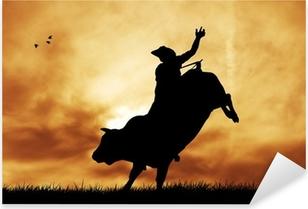 Sticker Pixerstick Bull cavalier au coucher du soleil