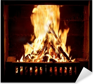 Burning fire in the fireplace Pixerstick Sticker
