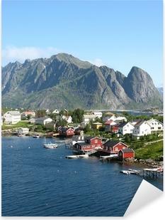 Cabanes rouges en Norvège Pixerstick Sticker