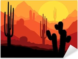 Pixerstick Sticker Cactus planten in Mexico woestijn zonsondergang vector