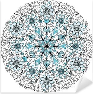 Sticker Pixerstick Cadre rond millésime dentelle florale