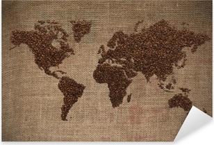 Sticker Pixerstick Café carte du monde