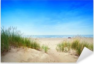 Calm beach with dunes and green grass. Tranquil ocean Pixerstick Sticker
