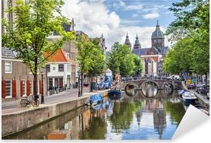 Sticker Pixerstick Canal et Eglise Saint-Nicolas à Amsterdam