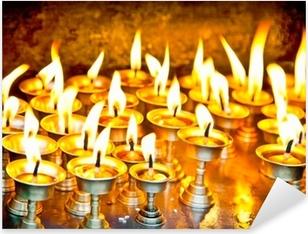 Candles at swayambhunath temple in Nepal Pixerstick Sticker