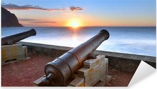 Pixerstick Sticker Canons van Barachois bij zonsondergang, Reunion Island
