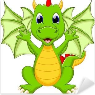 Sticker Pixerstick Caricature de dragon