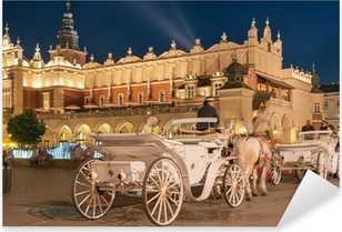 Carriages before the Sukiennice on The Main Market in Krakow Pixerstick Sticker