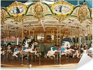 Sticker Pixerstick Carrousel avec des chevaux