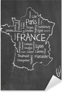 Sticker Pixerstick Carte de France et nuage de mots avec les grandes villes