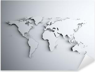 Sticker Pixerstick Carte du monde en 3D
