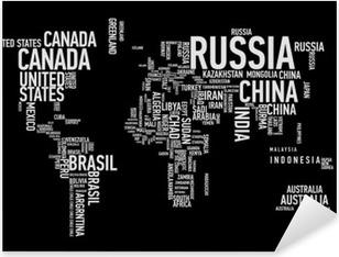 Sticker Pixerstick Carte du monde: les pays de wordcloud