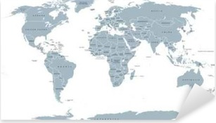 Sticker Pixerstick Carte politique mondiale. Carte détaillée du monde avec les rivages, les frontières nationales et les noms de pays. projection Robinson, l'étiquetage anglais, gris illustration sur fond blanc.