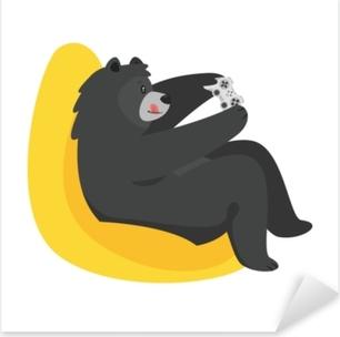 cartoon black cool bear Pixerstick Sticker