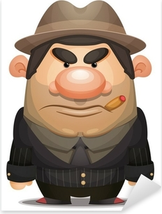 Cartoon Mobster Pixerstick Sticker