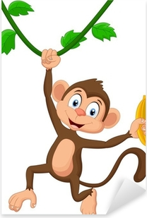 Cartoon monkey hanging Pixerstick Sticker