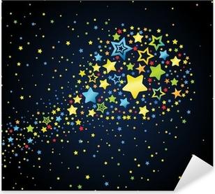Cartoon star colored comet Pixerstick Sticker
