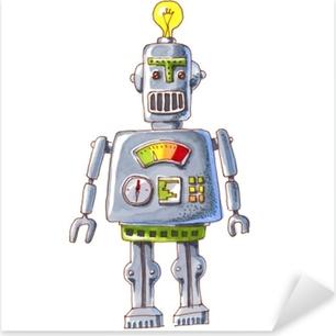 cartoon watercolor doodle robot Pixerstick Sticker