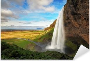 Sticker Pixerstick Cascade en Islande - Seljalandsfoss