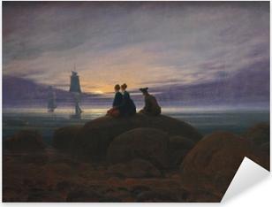 Caspar David Friedrich - Moonrise Over the Sea II Pixerstick Sticker