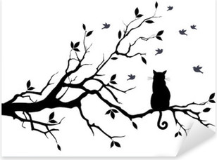cat on a tree with birds, vector Pixerstick Sticker