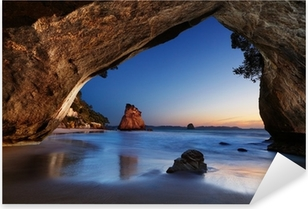 Cathedral Cove, New Zealand Pixerstick Sticker