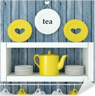 Ceramic kitchenware on the shelf. Pixerstick Sticker