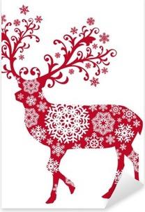 Sticker Pixerstick Cerf Noël avec des ornements et des flocons de neige, vecteur
