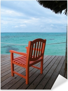 Sticker Pixerstick Chaise sur un ponton aux Bahamas