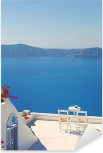 Sticker Pixerstick Chaises de toit sur Santorin en Grèce